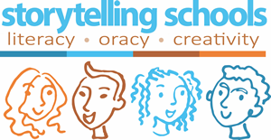 Storytelling Schools Logo. Literacy. Tracy. Creativity.